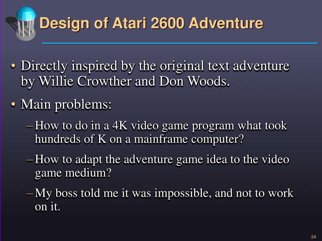 PPT - Design of the First Action-Adventure Video Game