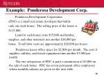 example ponderosa development corp