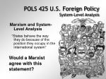 pols 425 u s foreign policy system level analysis30