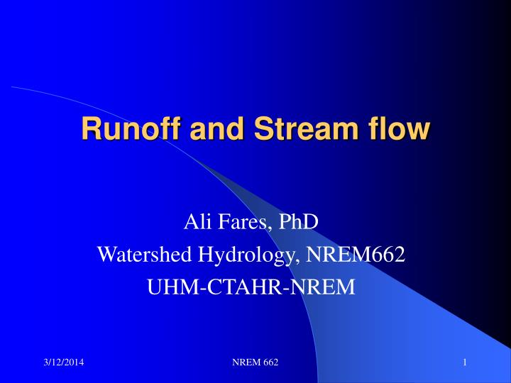 runoff and stream flow n.