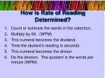 how is rate of reading determined