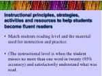 instructional principles strategies activities and resources to help students become fluent readers