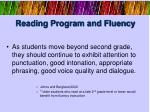 reading program and fluency