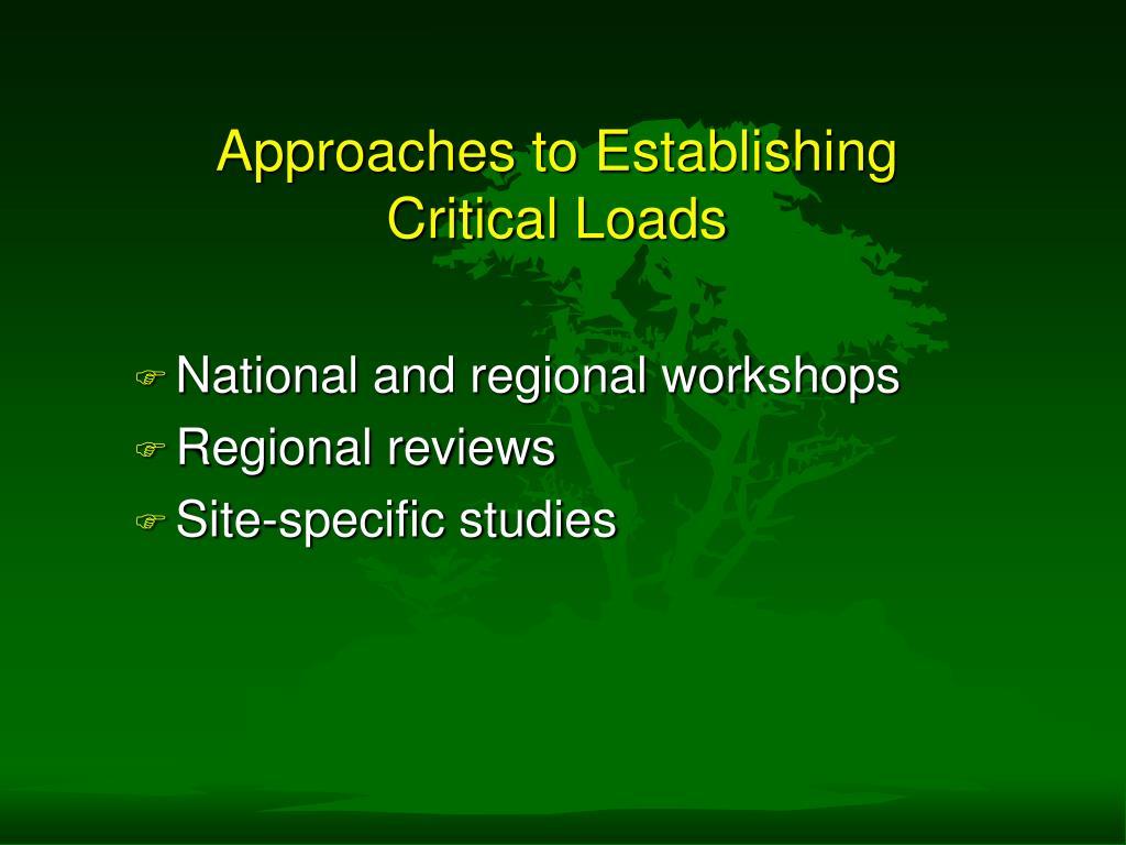 Approaches to Establishing Critical Loads