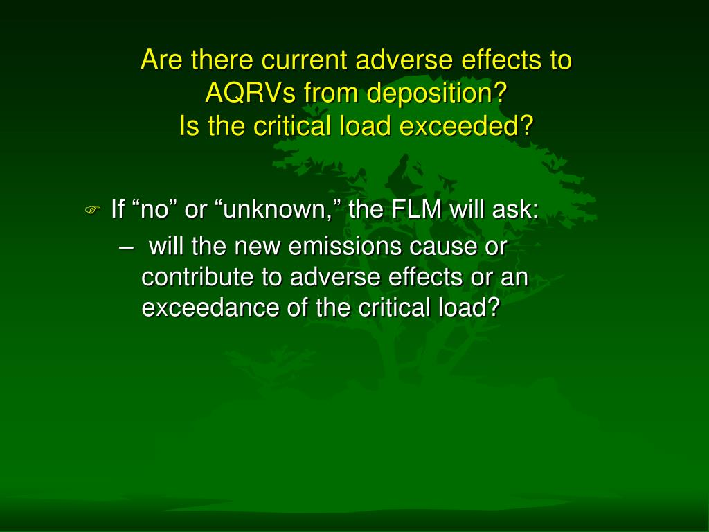 Are there current adverse effects to AQRVs from deposition?