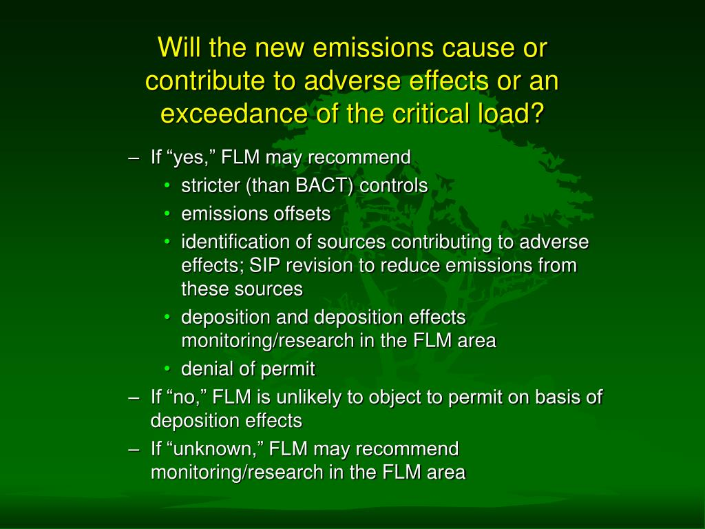 Will the new emissions cause or contribute to adverse effects or an exceedance of the critical load?