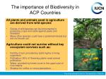 the importance of biodiversity in acp countries