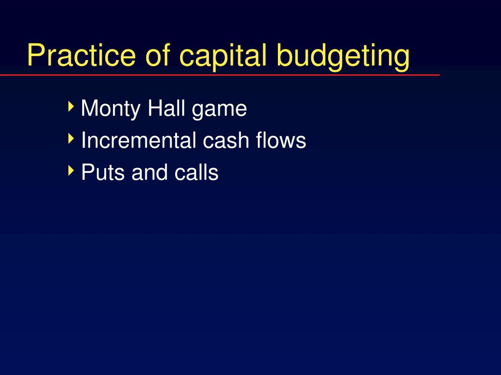 practice of capital budgeting l.