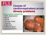 causes of cardiorespiratory arrest airway problems