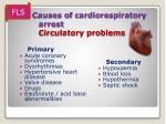 causes of cardiorespiratory arrest circulatory problems