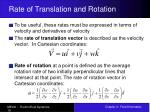 rate of translation and rotation