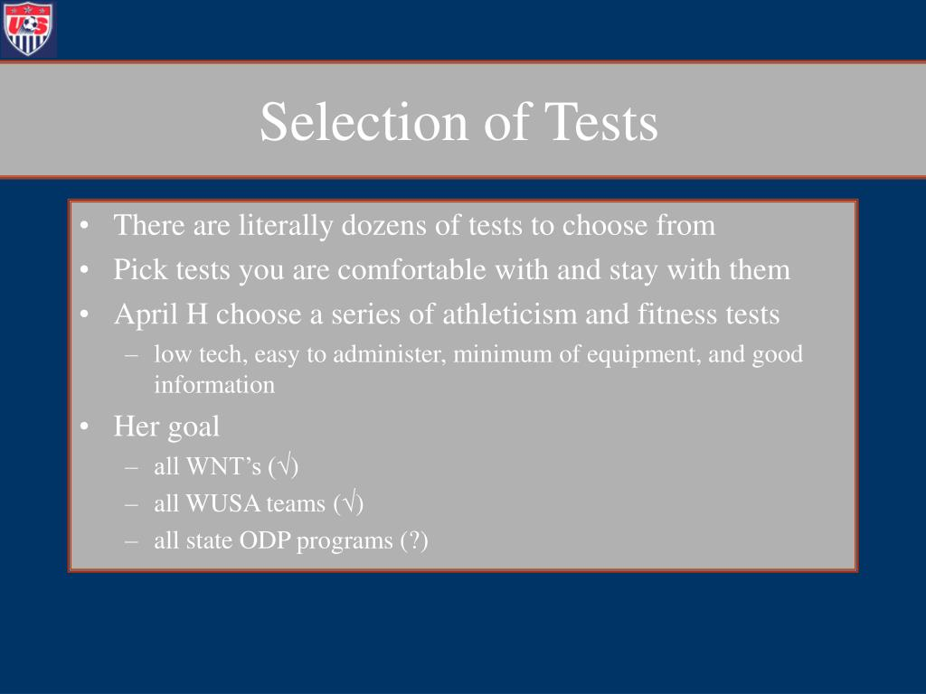 Selection of Tests
