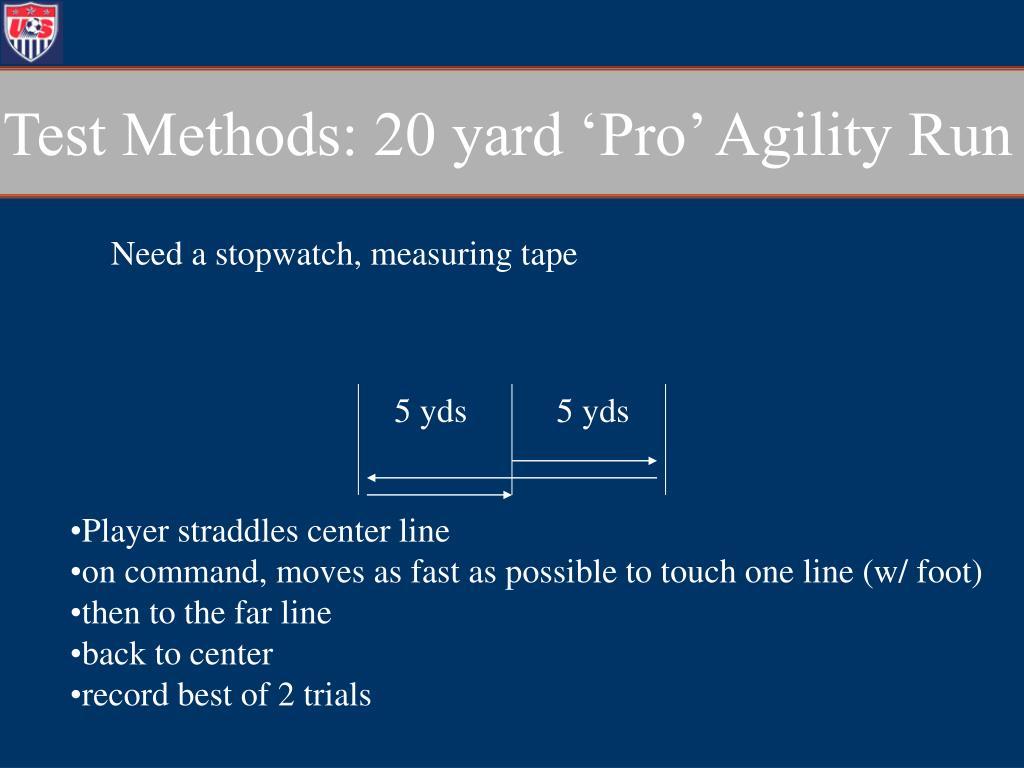 Test Methods: 20 yard 'Pro' Agility Run
