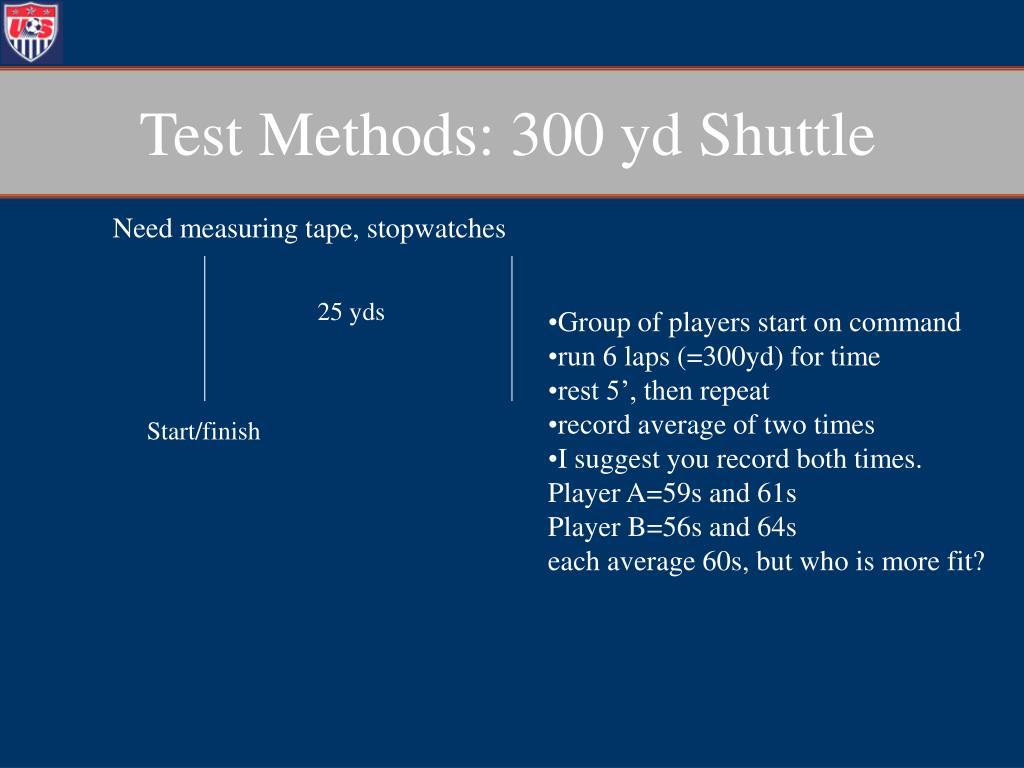 Test Methods: 300 yd Shuttle
