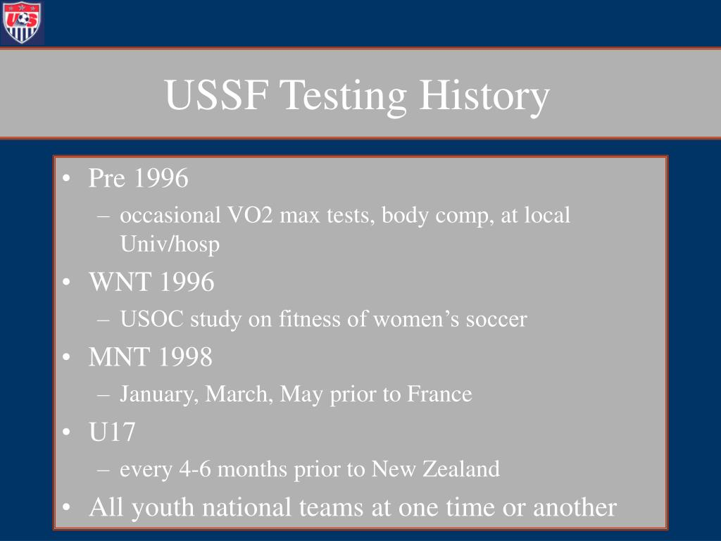 USSF Testing History