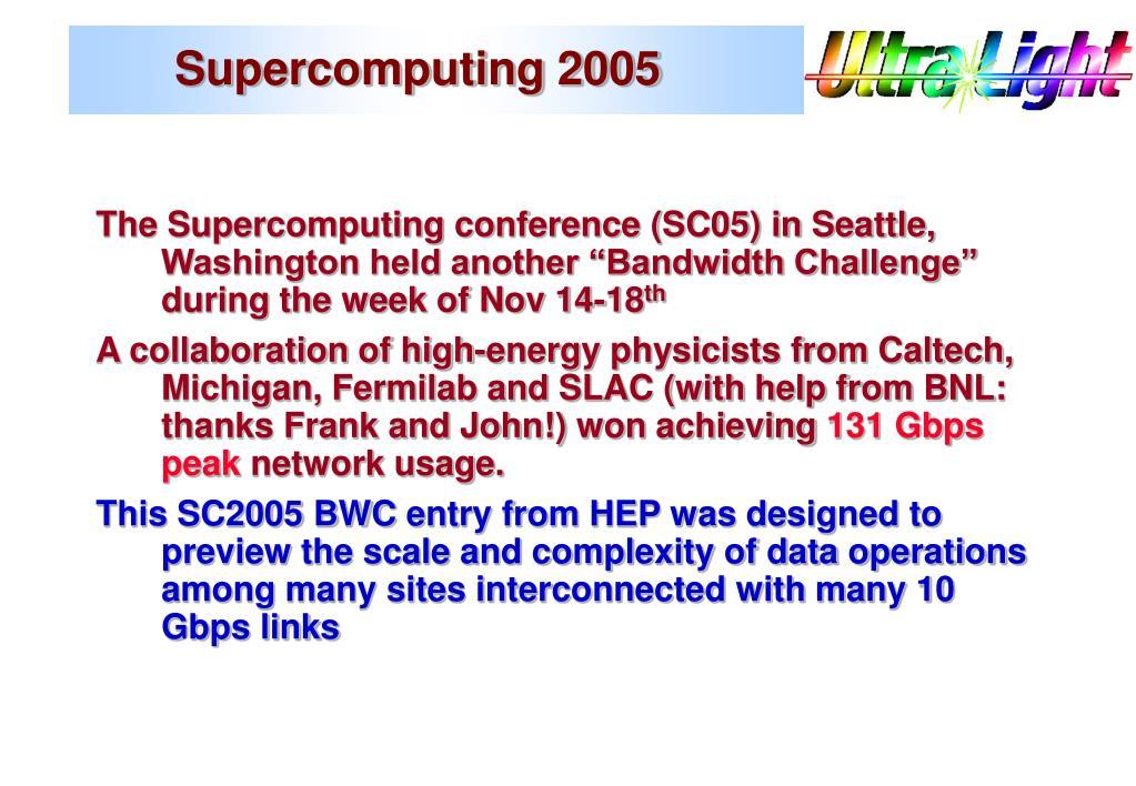 Supercomputing 2005