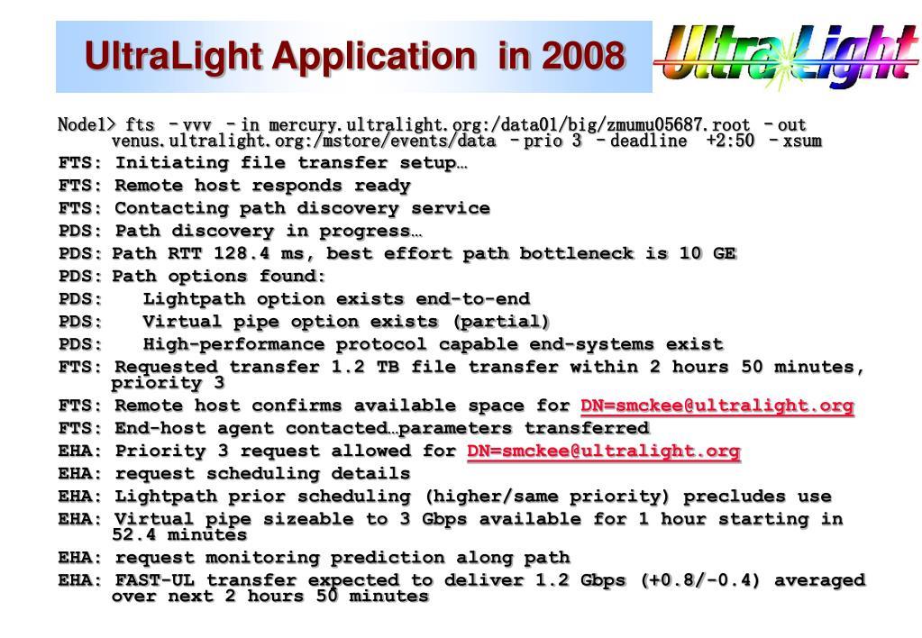UltraLight Application  in 2008