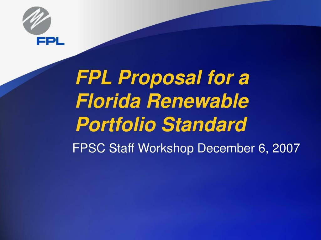 fpl proposal for a florida renewable portfolio standard l.