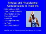 medical and physiological considerations in triathlons
