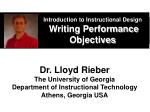 introduction to instructional design writing performance objectives