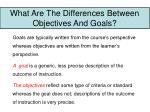 what are the differences between objectives and goals
