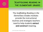 scaffolding reading in the elementary grades