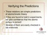 verifying the predictions