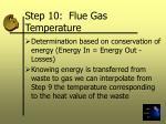 step 10 flue gas temperature