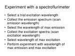 experiment with a spectroflurimeter