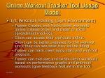 online workout tracker tool usage model