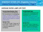 energy star cfl eligibility criteria lifetime performance requirements page 731