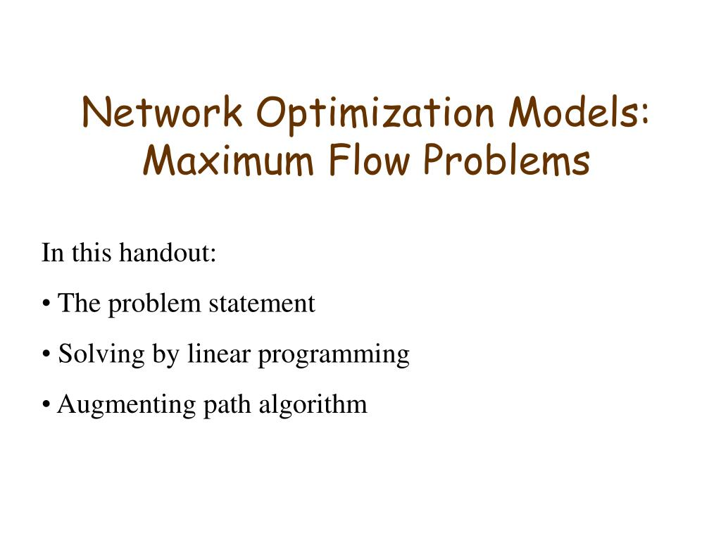 network optimization models maximum flow problems l.