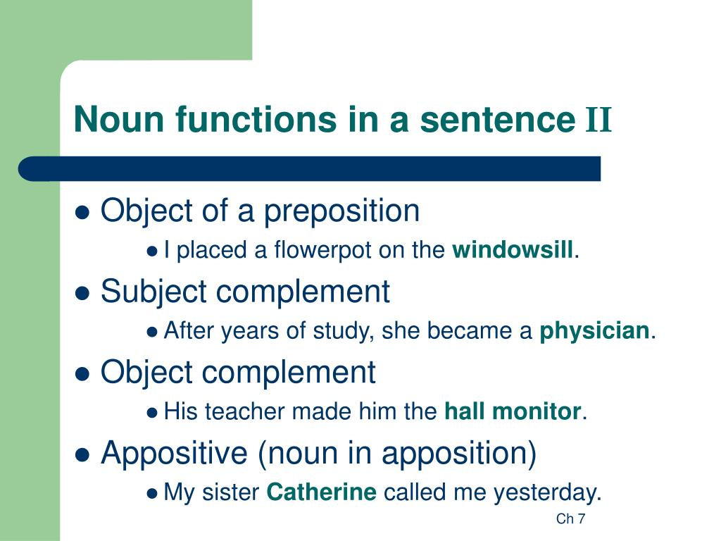 ppt nominals powerpoint presentation id 336598 On foyer in a sentence