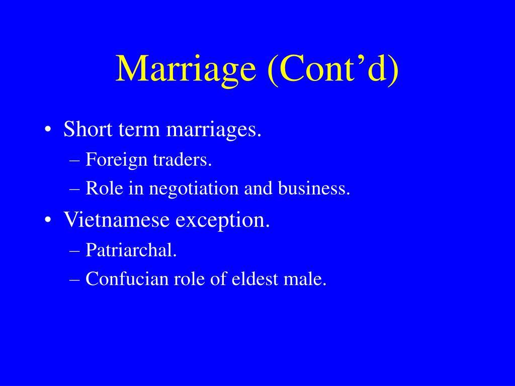 Marriage (Cont'd)