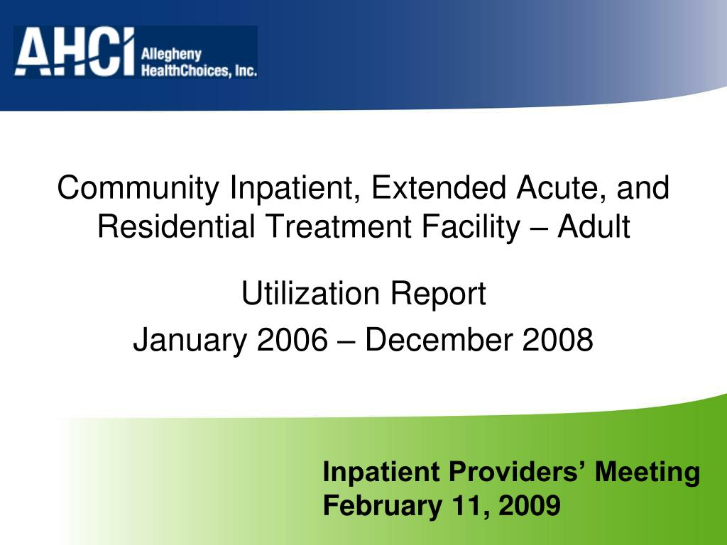 inpatient providers meeting february 11 2009 l.