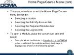 home page course menu cont