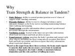 why train strength balance in tandem