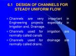 6 1 design of channels for steady uniform flow