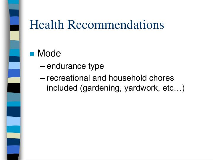Health recommendations