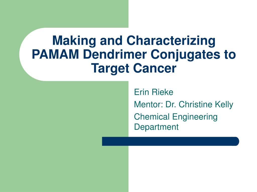 making and characterizing pamam dendrimer conjugates to target cancer l.
