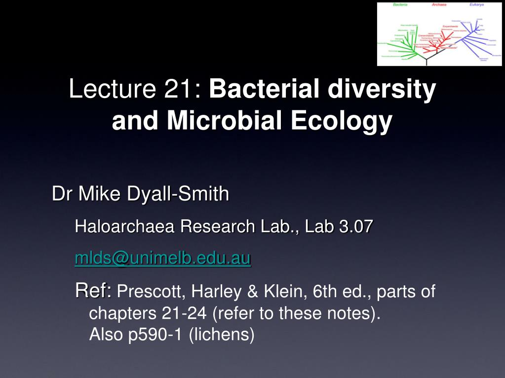 lecture 21 bacterial diversity and microbial ecology l.