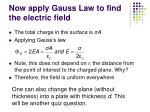 now apply gauss law to find the electric field12