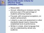measurable goals criteria for effective goals schmoker 1999