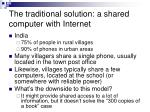the traditional solution a shared computer with internet