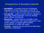 characteristics of hazardous materials