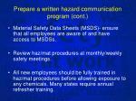 prepare a written hazard communication program cont