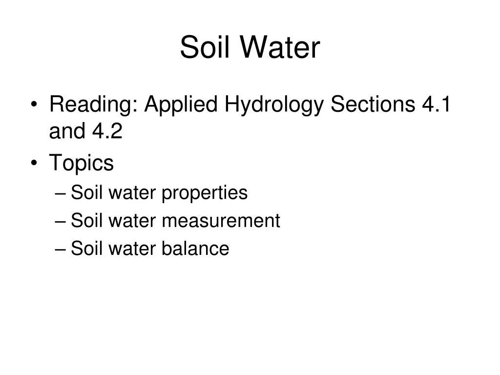 soil water l.