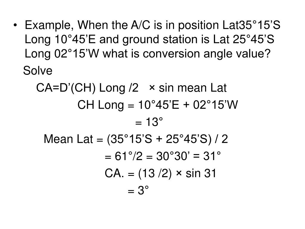 Example, When the A/C is in position Lat35