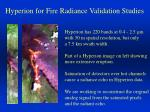 hyperion for fire radiance validation studies