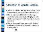 allocation of capital grants